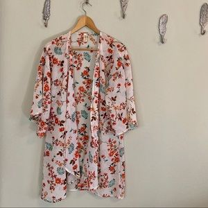 🛍 Lara Cream Floral Semisheer Kimono